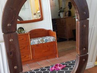 Oval brunbetsad Spegel 1170×800